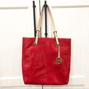 Michael Kors Red Patent Leather Large Tote